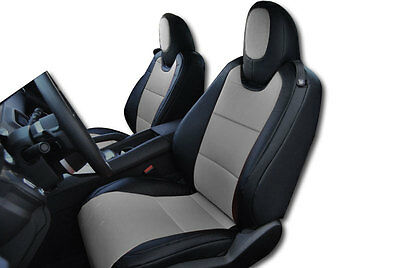 CHEVY CAMARO 2010-2015 BLACK/GREY IGGEE S.LEATHER CUSTOM FIT FRONT SEAT COVER ()