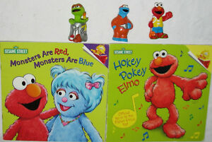 2 x Sesame Street Books & 3 Toy Figures (Lot # 2)