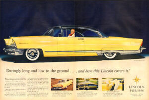 Large 2-page color magazine ad for 1956 Lincoln Automobile