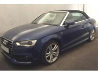 2015 BLUE AUDI A3 CABRIOLET 2.0 TDI 150 S LINE DIESEL CAR FINANCE FROM 62 P/WK