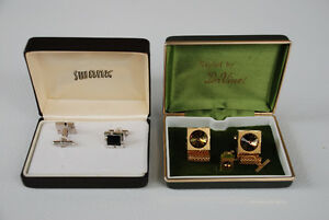 Vintage Cufflinks & Tie Stud (two sets - gold $75 and silver $45