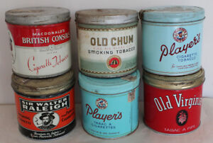 6 Tobacco Cigarette Tins - Players Old Chum Old Virginia can