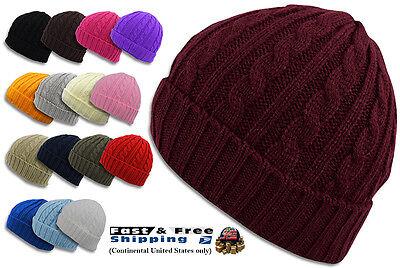 Beanie Winter Warm Cable Knit Crochet Hat Unisex Cap Braided Big Cuff Fold 3024