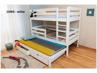 BRAND NEW TRIPLE BUNK BED WHITE storage under the bed