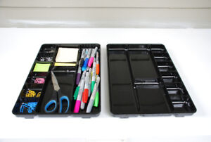 TWO Organizer Trays For Desk or Drawer (black acrylic)