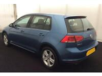 2015 BLUE VW GOLF 1.4 TSI 122 MATCH DSG PETROL 5DR HATCH CAR FINANCE FR £46 PW