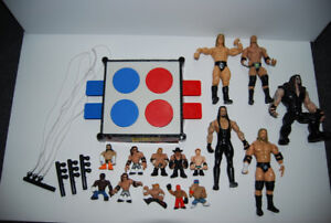 WRESTLING ACTION FIGURES AND MINI FIGURES WITH RING
