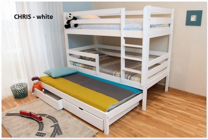 Triple Bunk Bed White Solid Wood 3 Sleeper Foam Mattresses Included