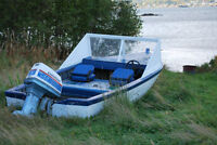 Wood Fiberglass covered boat with Evinrude motor