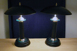 Desk or Side Table UFO Black / Glass / Brass Lamps