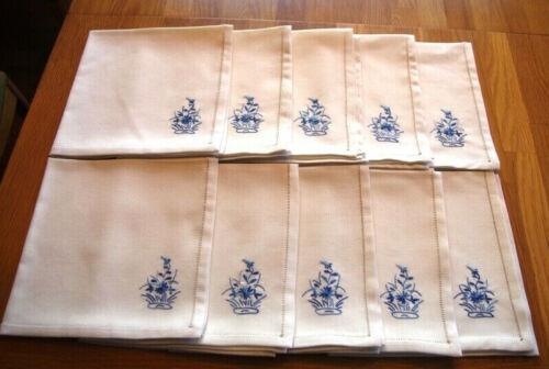 "10 Vintage Hand Embroidered 19"" Dinner Napkins ~ Cloth w/ Blue Flower ~ Handmade"