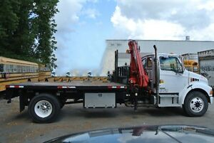 2008 Sterling Actera crane truck with14' dump flatbed