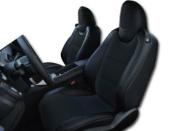 CHEVY CAMARO 2010-2015 BLACK IGGEE S.LEATHER CUSTOM FIT FRONT SEAT COVER