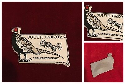 South Dakota State Shape Magnet Ring-Necked Pheasant Mount Rushmore Souvenir Vtg