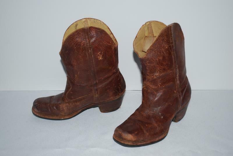 Vintage 1930s Cowboy Boots Brown Leather Authentic