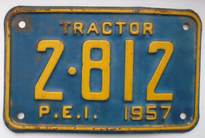 "VINTAGE 1957's PRINCE EDWARD ISLAND ""TRACTOR"" LICENSE PLATE"