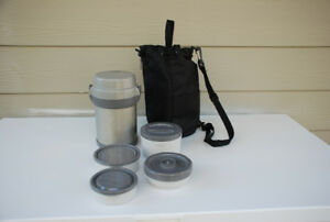 Compact 4-Part Food Thermos - Keeps Food Cold Or Hot