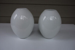 Flower Vases For Sale (matching pair, white glass)