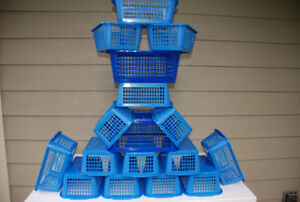 17 Plastic Stackable Baskets For Sale (blue, two sizes)