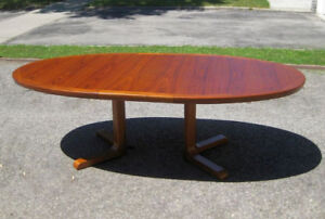 Large 12 Person Vintage MCM Retro Danish Teak Table, 6 Chairs