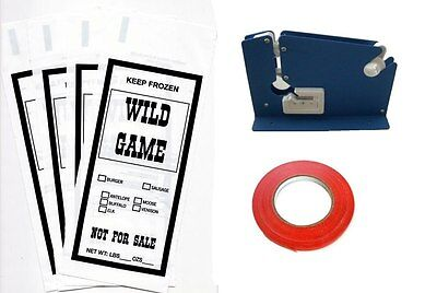 Wild Game Ground Meat Packing Kit- Tape Machine Tape 200 1lb Bags Sib Supply