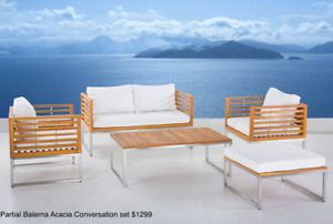 Outdoor Stainless Steel and Acacia Wood Conversation Set Floor M