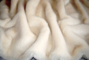PREMIUM QUALITY FAUX FUR, WHITE, SOLD BY METER OR BY ROLL