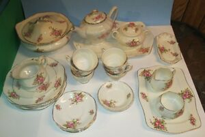 James Kent (England) 37 pcs Apple Blossom pattern China dishes