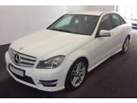 2013 WHITE MERCEDES C180 1.6 AMG SPORT SALOON AUTO CAR FINANCE FROM 37 P/WK