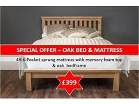 Oak bed & pocket sprung Mattress!!!
