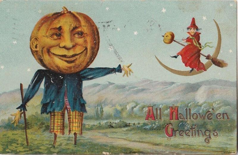 S21.1097 Vintage  Halloween Postcard Pumpkin Scarecrow, Witch 1908