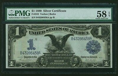 1899 $1 SILVER CERTIFICATE BANKNOTE CHOICE ABOUT UNCIRCULATED CERTIFIED PMG58