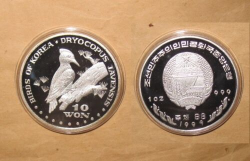 "1999 Korea $10 WON DRYOCOPUS JAVENSIS PROOF SILVER coin ""RARE"" & ""SCARCE"""