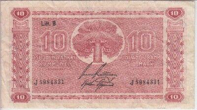 FINLAND BANKNOTE P77-4331 10 MARKKAA 1945 LITT. B-PREFIX J,  FINE