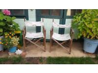 Director style deck chairs pretty vintage bird print upcycle project