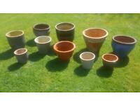 10 Garden pots various sizes and condition