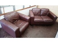 GENUINE LEATHER Small Two Piece Suite