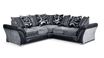 NEW Large Shannon Sofa Corner Sofa GREY BLACK FABRIC 2C2, 3+2 SEATER