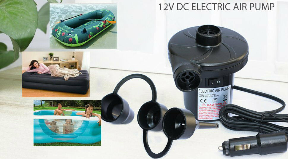 2in1 Electric Air Pump Inflator Camping Bed Mattress Pool 12V Car /& 240V Mains
