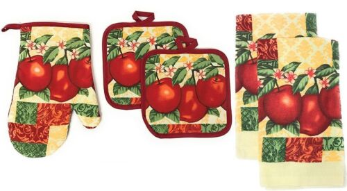 5 pc SET: 2 POT HOLDERS,1 OVEN MITT & 2 TOWELS, cream color, 3 RED APPLES by KC