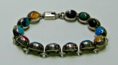 "Vintage Multi Colored Stones 7½"" Bracelet Marked Mexico 925"
