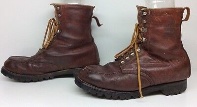 VTG MENS WOODSTREAM BY WEINBRENNER INSULATED  WORK LEATHER BOOTS 10.5 E