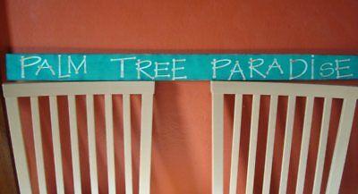 "Palm Tree Paradise Beach Sign 43"" Tropical Island Wood Beach Home Decor Sign NEW"
