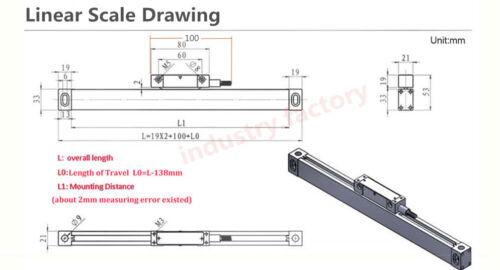 2 Axis Digital Readout Linear Scale 400/&600mm 5μm TTL Encoder DRO Milling Lathe
