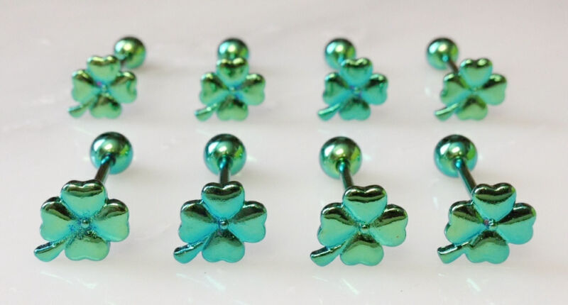 T#107 - 8pc Titanium Shamrock Tongue Rings Lucky Clover