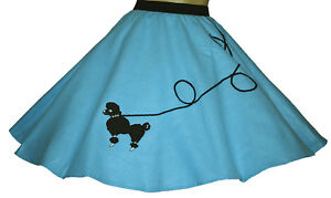 New AQUA BLUE 50's Poodle Skirt Youth Ages 10/11/12 Sz L 23