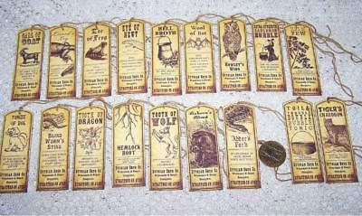 Halloween~Witch~Macbeth~Potion Ingredients~Emboss~Linen Cardstock~Gift~Hang~Tags