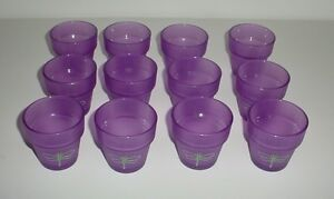 Purple-Glass-Votive-Tealight-Candle-Holders-Flower-Pots-Lot-of-12-Dragonfly