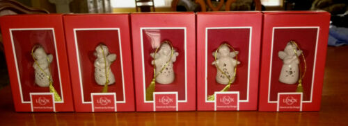 5 Angel Wishes Bell Lenox Ornament Holly, Tree, Snowflake, Heart, Star with Box