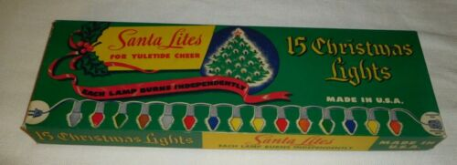 CLEMCO SANTA LITES 15 CHRISTMAS LIGHTS CAT. NO.815 W/C-9 COLORED BULBS WORKING